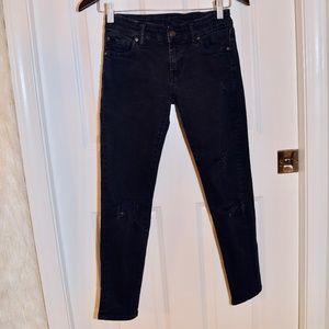 Ralph Lauren Skinny Cropped Black Distressed Jeans